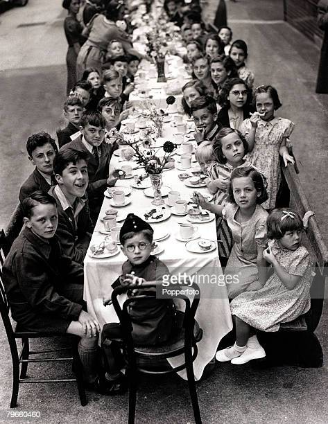 World War II/Celebrations London England 6th July 1945 Children at a Chelsea street party on VEDay to celebrate the end of the war in Europe
