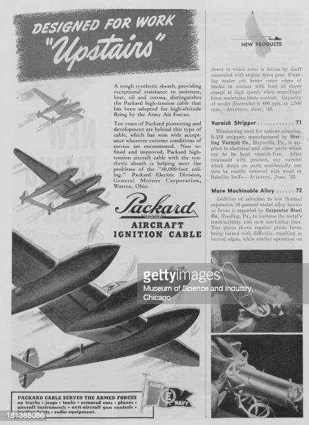 World War II-era black and white advertisement, 'Designed For Work Upstairs,' for Packard, showing three twin engine cargo planes flying through the...