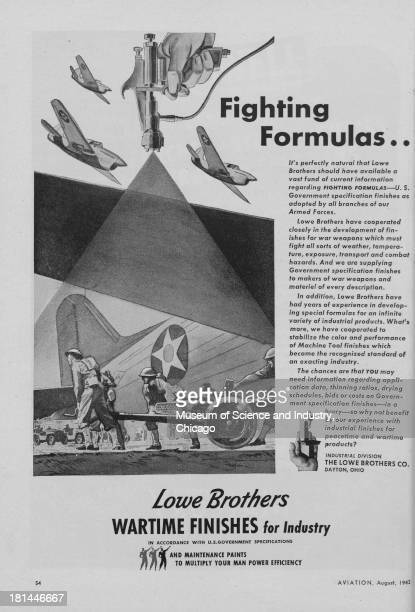 World War IIera black and white advertisement 'Fighting Formulas' for Lowe Brothers Company showing three fighter planes flying above a battlefield...