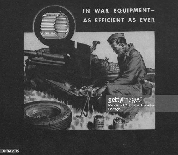 World War IIera black and white advertisement 'In War Equipment As Efficient As Ever' for the Torrington Company showing a serviceman oiling the...
