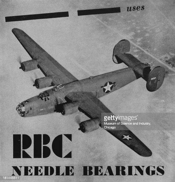 World War IIera black and white advertisement 'RBC Needle Bearings' for Roller Bearing Company Of America showing from above a bomber flying equipped...