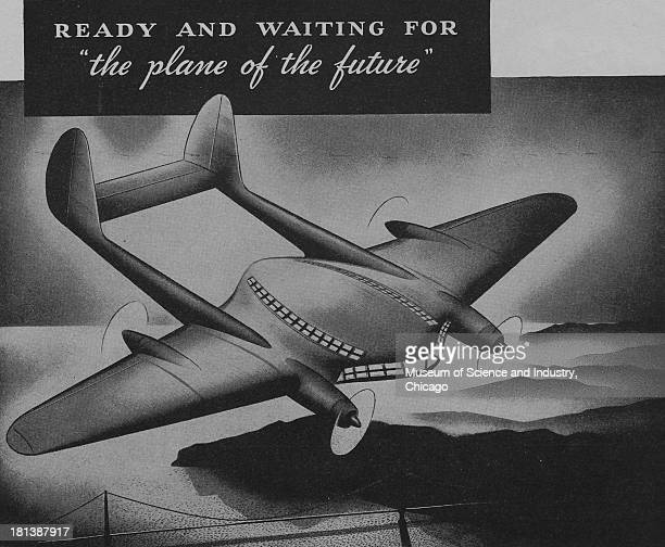World War IIera black and white advertisement 'Ready And Waiting For The Plane Of The Future' for Houdry Process Corporation showing an illustration...