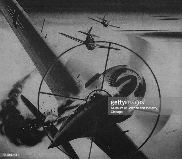 World War IIera black and white advertisement 'This Way Out' for Aeronca Aircraft Corporation showing an enemy plane in the sights of an Allied scope...
