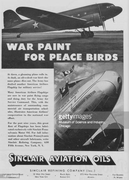 World War IIera black and white advertisement 'War Paint For Peace Birds' for Sinclair Refining Company Incorporated showing an image of an Allied...