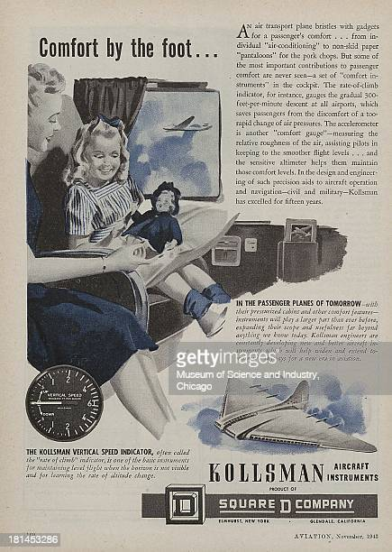 World War IIera color advertisement 'Comfort By The Foot' for Kollsman Aircraft Instrument/Square D Company showing a mother and daughter happily...