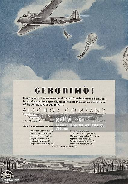 World War IIera color advertisement 'Geronimo' for Airchox Company showing a twin engine carrier plane flying in the air with parachuting soldiers...
