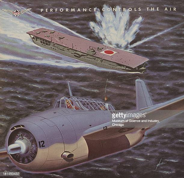A World War IIera color advertisement 'Performance Controls The Air' for Pesco Products Corporation illustrating an Allied fighter plane flying away...