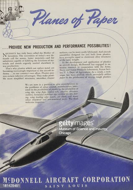 World War IIera color advertisement 'Planes Of Paper' for McDonnell Aircraft Corporation showing an image of a futuristic airplane and also an image...