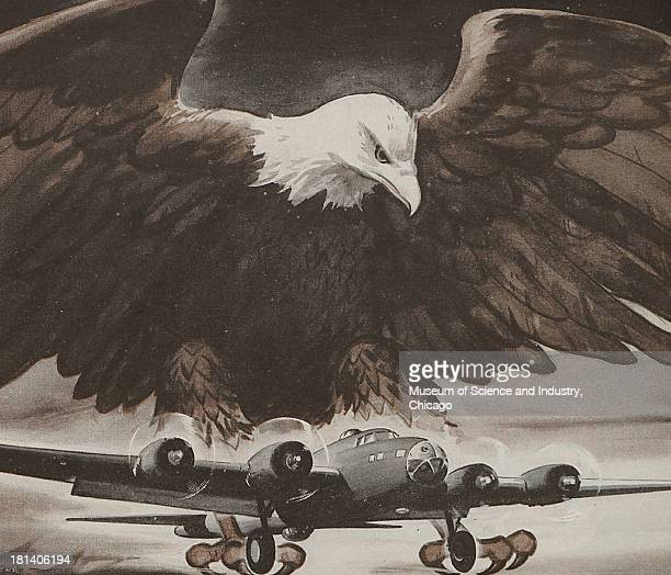 World War IIera color advertisement 'Striking Power' for Vard Incorporated showing a gigantic American Eagle flying in the air above a four engine...