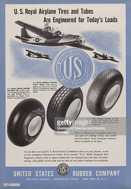 World War IIera color advertisement 'United States Rubber Company' for United States Rubber Company three United States four engine fighter planes...