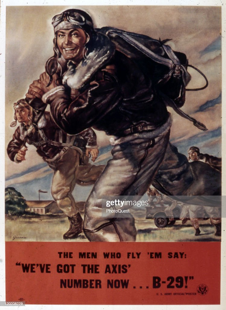 World War II-era poster (Gieson, artist) features a flight crew as they cross tha tarmac, accompanied by the text 'The men who fly 'em say: 'We've got the Axis' number now…B-29!'' early to mid 1940s.