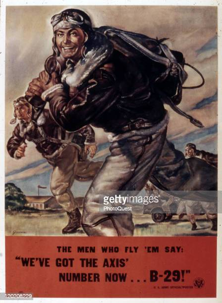 World War II-era poster features a flight crew as they cross tha tarmac, accompanied by the text 'The men who fly 'em say: 'We've got the Axis'...