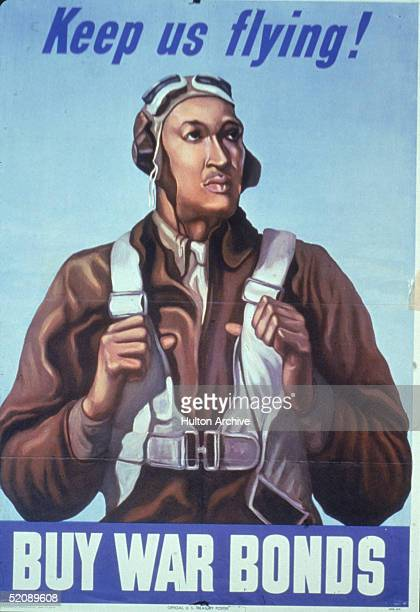 World War IIera poster produceed by the US Treasury Department shows an AfricanAmerican airman thumbs hooked under the straps of his parachute as he...
