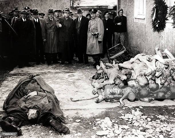 World War II/Genocide The scene at Buchenwald Germany a Nazi concentration camp after American troops had 'liberated' the camp revealing the...