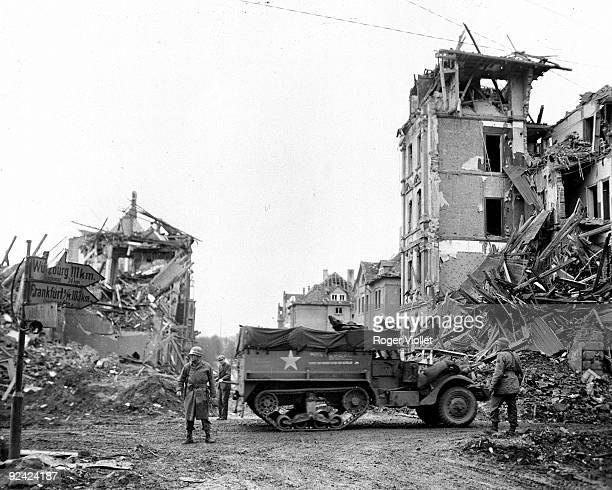 World War IIThe American 26th division pursuing the Nazis in the ruins of Fulda March 1945
