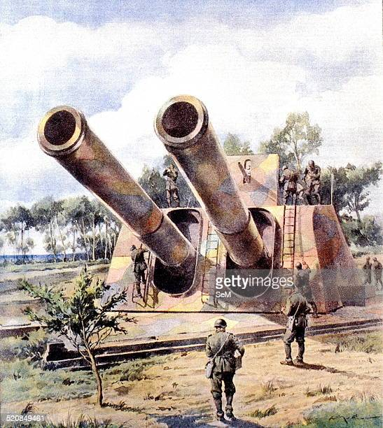 World War IIWar in ItalySicily 1943 Heavy Artillery Italian camouflaged ready to counter the enemy assault Illustrated by La Tribuna Illustrata...