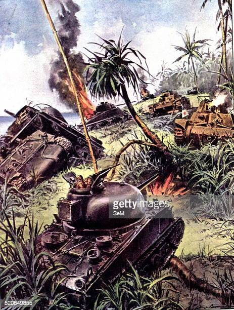 World War IIWar in the Pacific1944 Japanese and Americans tanks fighting during a battle on the island of Peleliu La Domenica del Corriere...