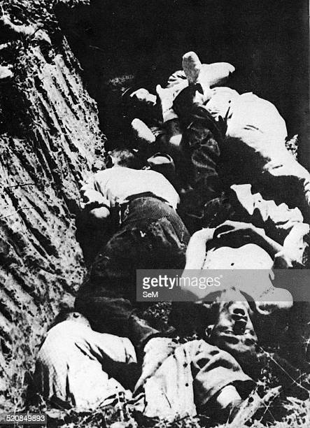 World War II-War in Yugoslavia. 1943 1945 Bodies of prisoners executed by Tito's partisans and thrown into ravines.