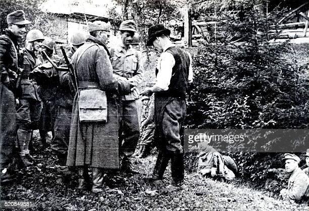World War II-War in Yugoslavia. War partisans. Fascists and Germans in 1944 during a raid in the area of Ljubljana in Slovenia.