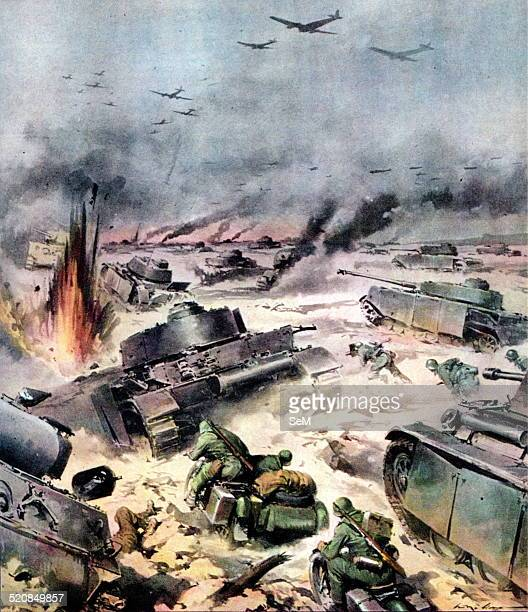 World War IIWar on the Western Front 1944 Great German offensive overwhelms the defenses of the 1st US Army La Domenica del Corriere illustration by...