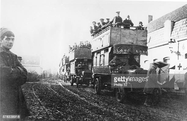 World War One 6th November 1914 First Battle of Ypres Royal Warwickshire Second Battalion Regiment transported by British buses to Ypres Dickebusch