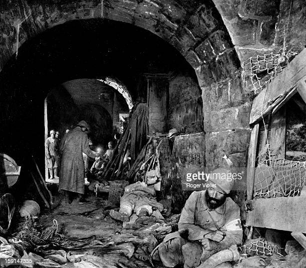 World War One Battle of Verdun After the recapture of Fort Vaux Central corridor In the foreground on the righthand corner wounded nurse 1916
