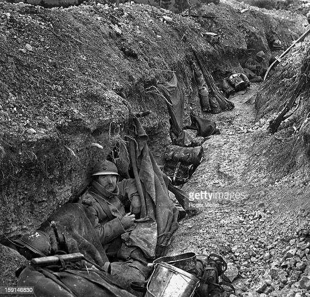 World War One Battle of Verdun French trench on the front lines 1916