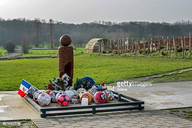 World War One monument to Christmas Truce football match played between English and German troops in the No Man's Land of Ploegsteert West Flanders...