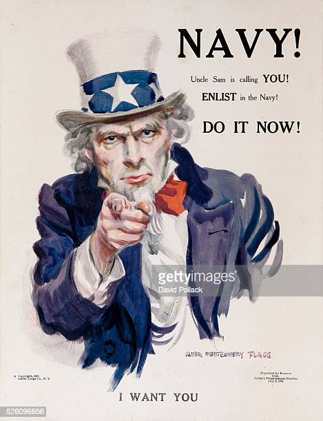 World War One Navy Recruiting Poster Uncle Sam in red white and blue clothing points at the viewer with the command I WANT YOU Illustrated by James...
