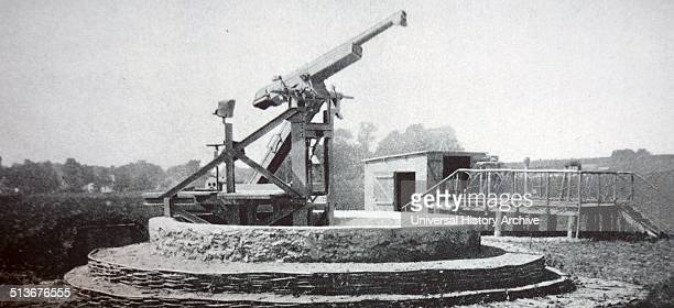 World war one observation post in Paris with a 75 inch gun installed against enemy aircraft
