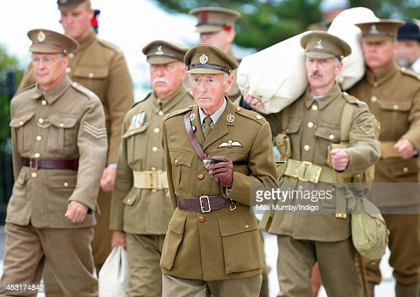 World War One reenactors take part in a march during the 'Step Short' commemorative event to unveil the Folkestone Memorial Arch to mark the...