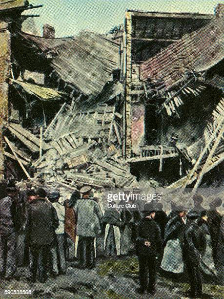 World War One ruins apartment block destroyed by 50 kg mine bomb from Zeppelin Note British policeman Cigarette cards published in Germany c1934...