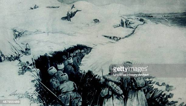 World war one Russian troops advance through a snow covered trench in Galicia The Battle of Galicia was a major battle between Russia and...