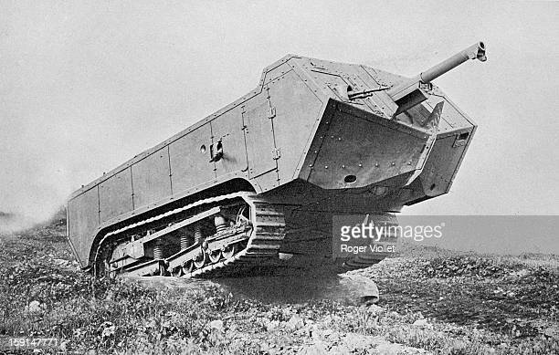 World War One, Saint Chamond French tank. Going over a tree trunk, France, 1917.