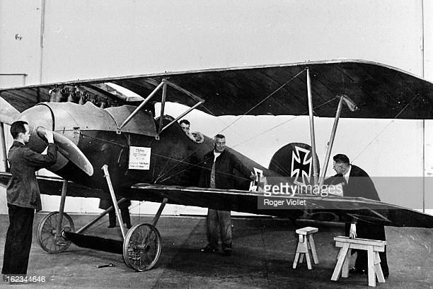 World War One The Albatross D III of Manfred von Richthofen German Air Force ace at an aviation exhibition in Berlin 1914