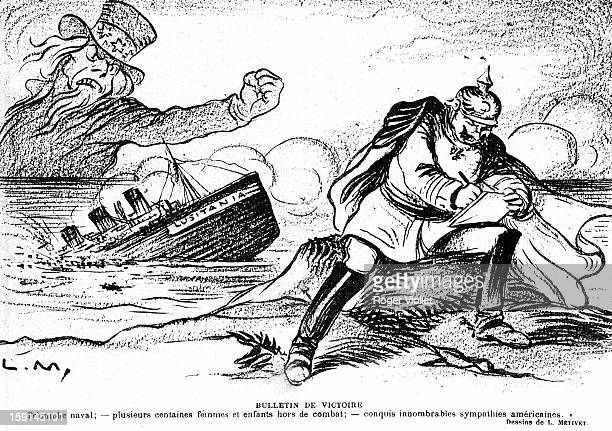 World War One The English liner 'Lusitania' sunk by a German submarine Engraving by Lucien Métivet 'Le Rire' 22nd May 1915