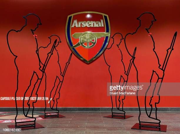 World War One 'Tommies' in the players entrance at Emirates stadium before the Premier League match between Arsenal FC and Wolverhampton Wanderers at...