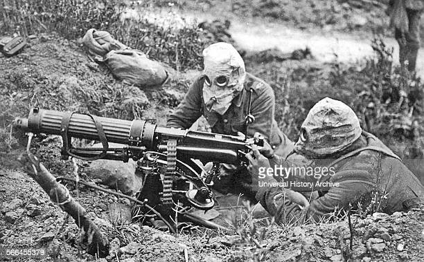 World War One Vickers Machine Gun Crew with gas masks