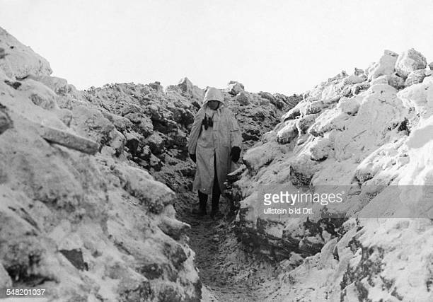 2 World war soviet union theater of war German soldiers in snow camouflage in a trench about