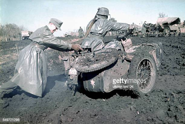 2 World War Soviet Union theater of war motorcyclist of 1 mountain troops div on muddy terrain in the Ukraine spring 1942