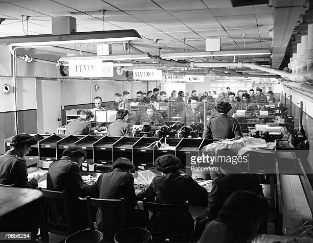 World War Two 11th February 1944 England The busy British worldwide communications system handling some 6000 messages a day Staff seen operating a...