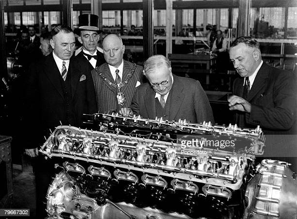 World War Two, 14th, July 1939, Air Minister Sir Kingsley Wood watches the production and assembley of Rolls Royce aero engines at Crewe, Cheshire