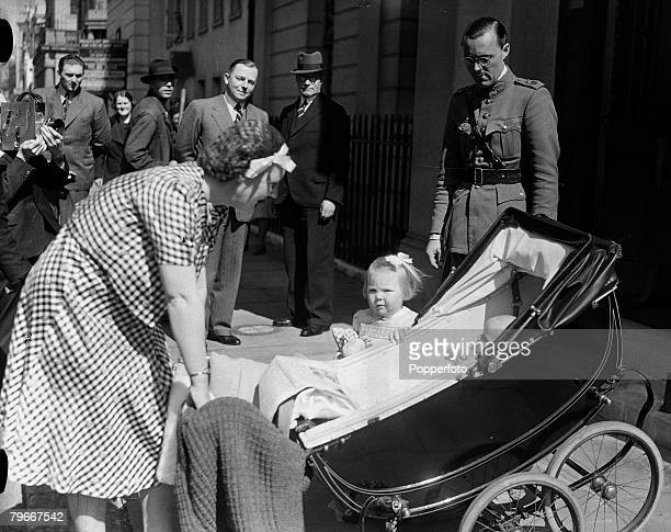 14th May 1940, Princess Juliana of the Netherlands pictured with Prince Bernhard of Lippe-Biesterfeld and their two little daughters, Princess...