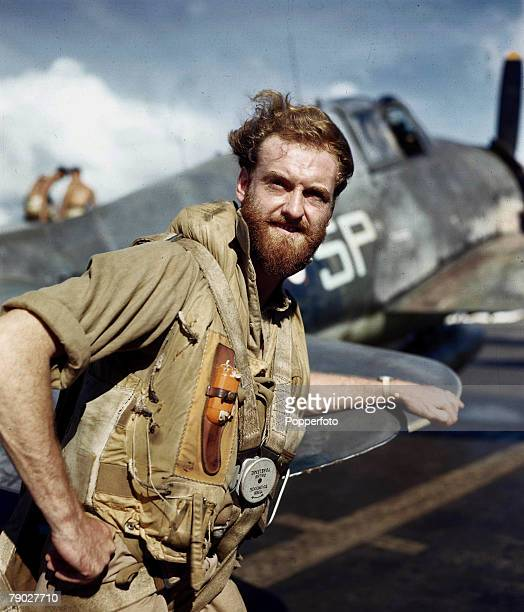 World War Two 18th January Asia British CarrierBorne aircraft Strike at Japanese Occupied Sumatra Indonesia in the Pacific A pilot of the Hellcat...
