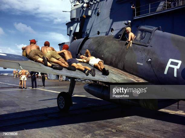 World War Two 18th January Asia British CarrierBorne aircraft Strike at Japanese Occupied Sumatra Indonesia in the Pacific Flight deck handling party...