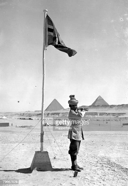 1st March 1940 A bugler of the Indian Army forces encamped within sight of the Pyramids in Egypt sounding a call These men were the first of the...