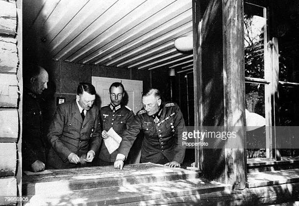 World War Two 28th September 1940 Northern Europe Adolf Hitler pictured at the headquarters on the Western Front with General Wilhelm Keitel Major...