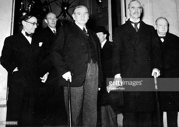 World War Two 5th February 1940 Paris France Edouard Daladier at the Supreme Council with M Campinchi Lord Halifax Mr Chamberlain and Mr Winston...