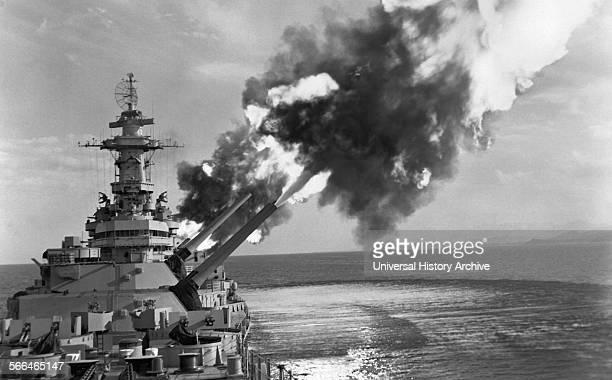 World War two American battleship in action 1943