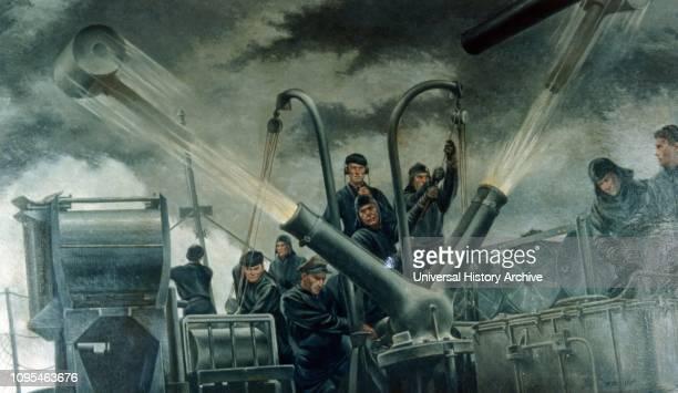 American Navy under fire, Atlantic Ocean. Illustration by Tom Lea 1942.